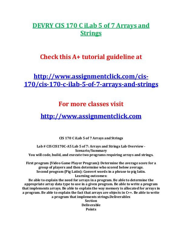 DEVRY CIS 170 C iLab 5 of 7 Arrays and Strings