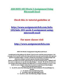 ASH INFO 103 Entire CourseASH INFO 103 Entire Course With Final