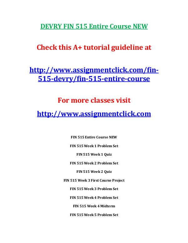 fin 515 week 6 exam