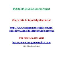 DEVRY FIN 515 Entire Course NEW