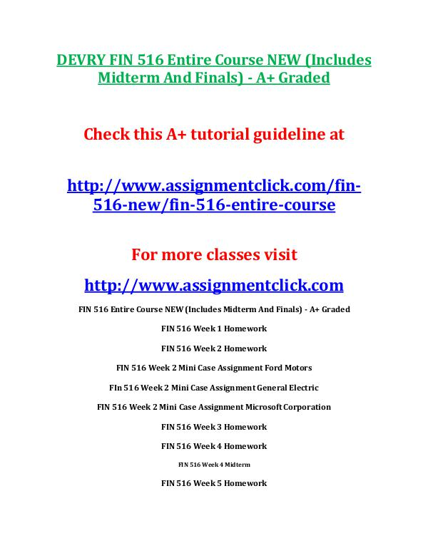 DEVRY FIN 516 Entire Course NEW DEVRY FIN 516 Entire Course NEW (Includes Midterm