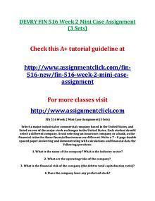 DEVRY FIN 516 Entire Course NEW