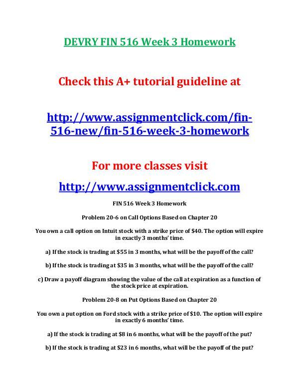 DEVRY FIN 516 Entire Course NEW DEVRY FIN 516 Week 3 Homework