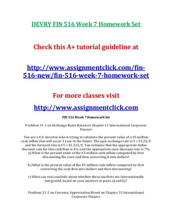 DEVRY FIN 516 Entire Course NEW DEVRY FIN 516 Week 7 Homework Set