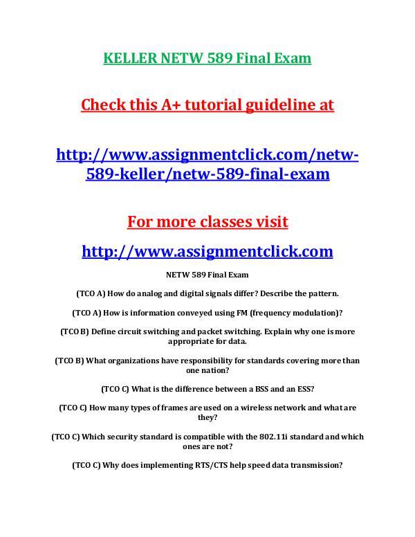 KELLER NETW 589 Entire CourseKELLER NETW 589 Entire Course Includes Q KELLER NETW 589 Final Exam