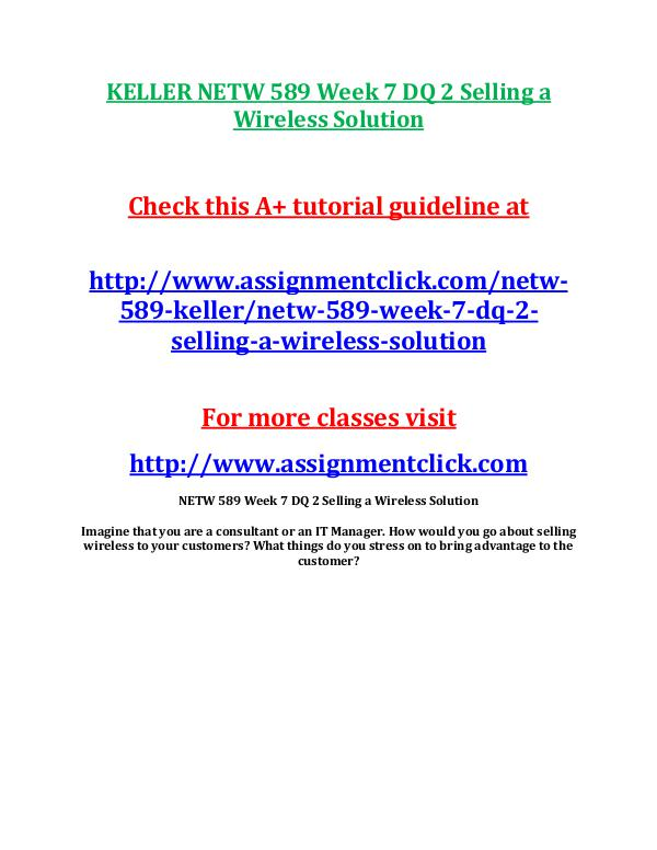 NETW 589 Entire Course Wireless Communication Ended Feb-2015 Keller