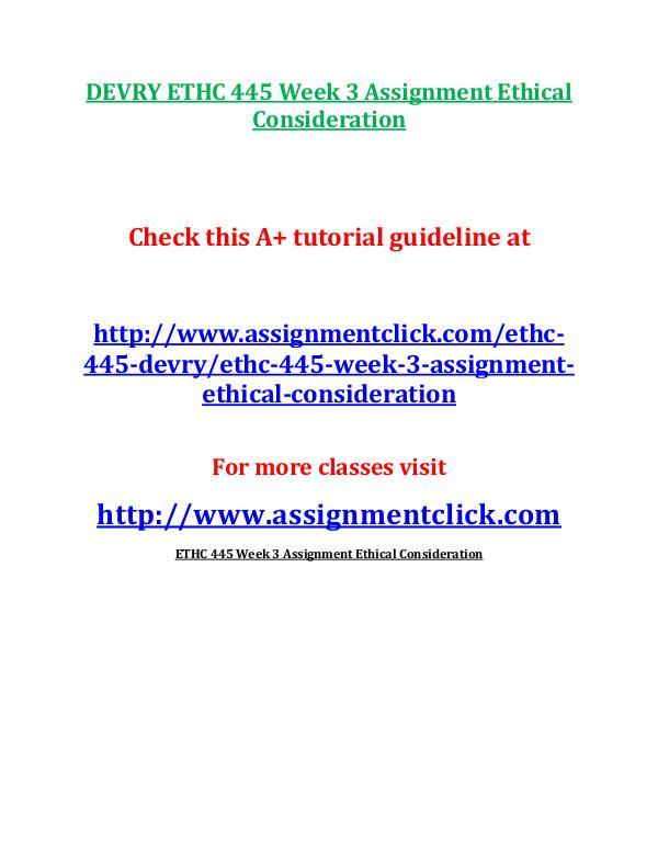ethc 445 Study 18 devry ethc 445 entire course flashcards from ine z on studyblue.