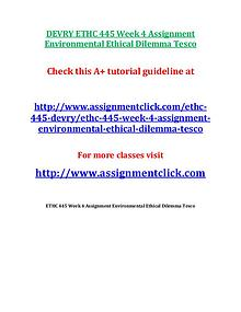 DEVRY ETHC 445 Entire Course