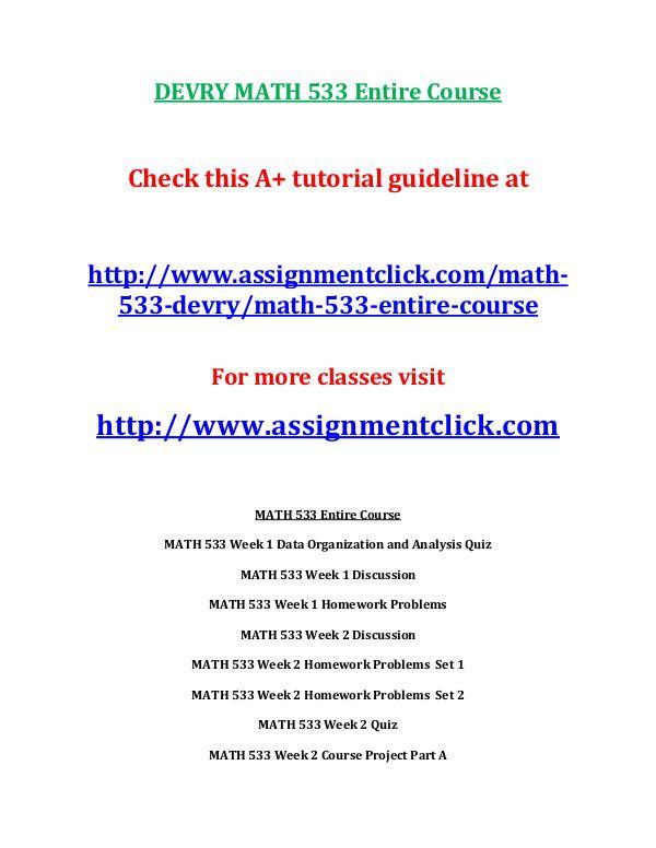 DEVRY MATH 533 Entire Course DEVRY MATH 533 Entire Course