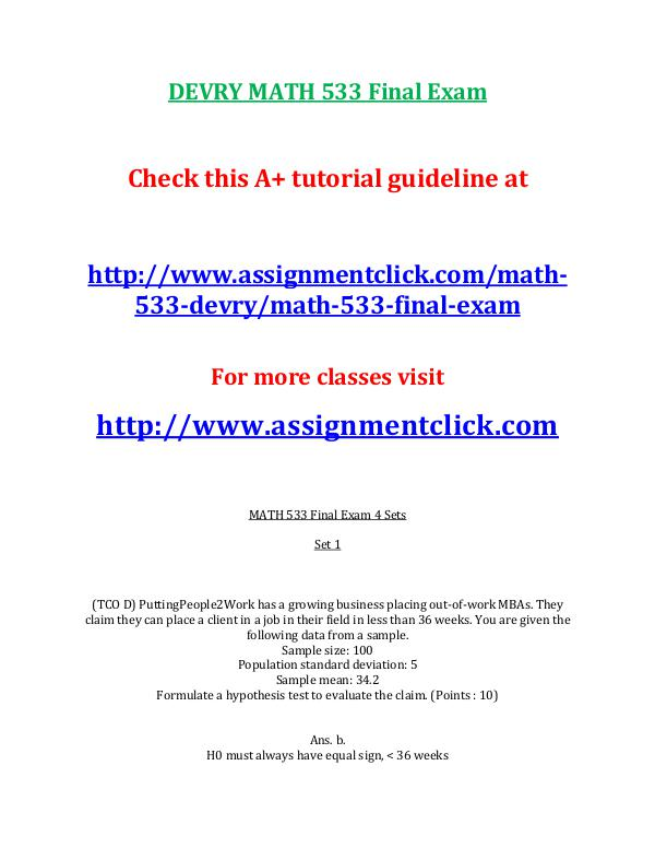 DEVRY MATH 533 Entire Course DEVRY MATH 533 Final Exam