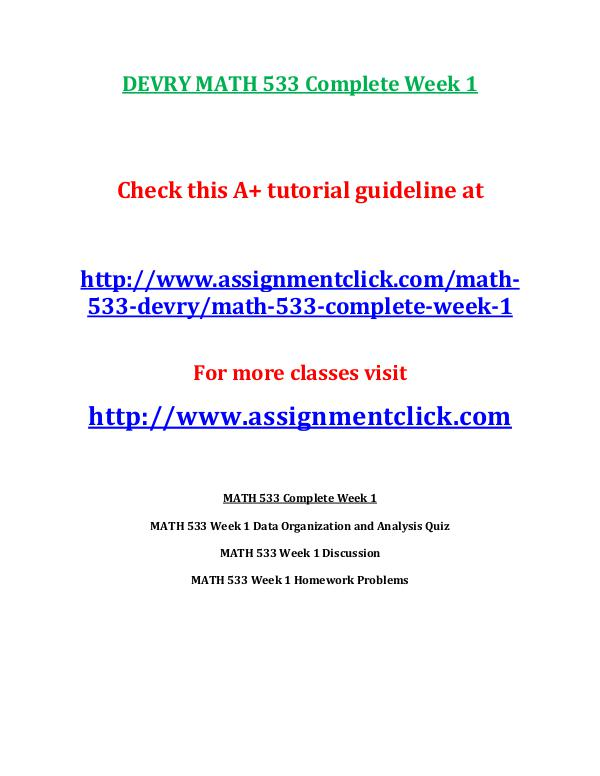 DEVRY MATH 533 Entire Course DEVRY MATH 533 Complete Week 1