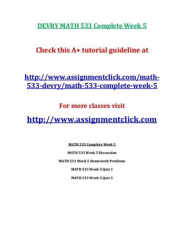 DEVRY MATH 533 Entire Course DEVRY MATH 533 Complete Week 5