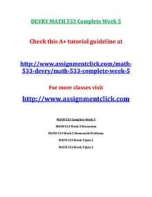 DEVRY MATH 533 Entire Course