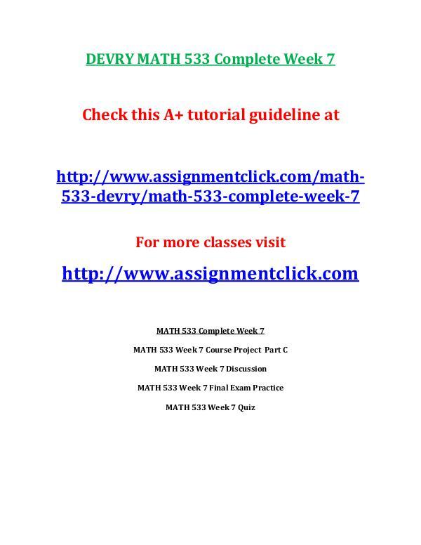 DEVRY MATH 533 Entire Course DEVRY MATH 533 Complete Week 7