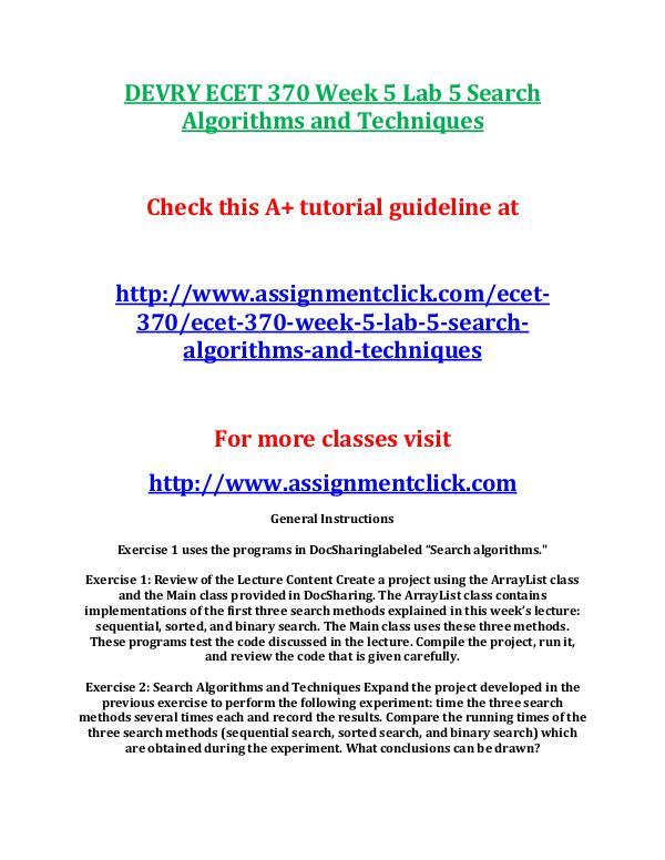 DEVRY ECET 370 Entire Course DEVRY ECET 370 Week 5 Lab 5 Search Algorithms and