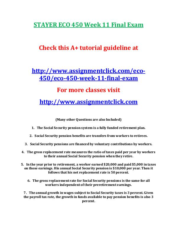 STAYER ECO 450 Entire Course STAYER ECO 450 Week 11 Final Exam