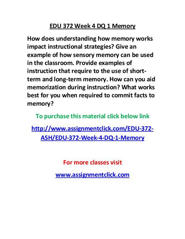 Ash Edu 372 Entire Course Edu 372 Week 4 Dq 1 Memory Joomag Newsstand