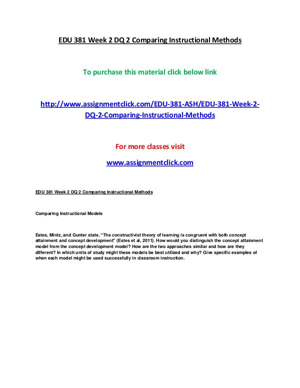 ASHEDU 381 entire course EDU 381 Week 2 Matching Objectives to Instruction