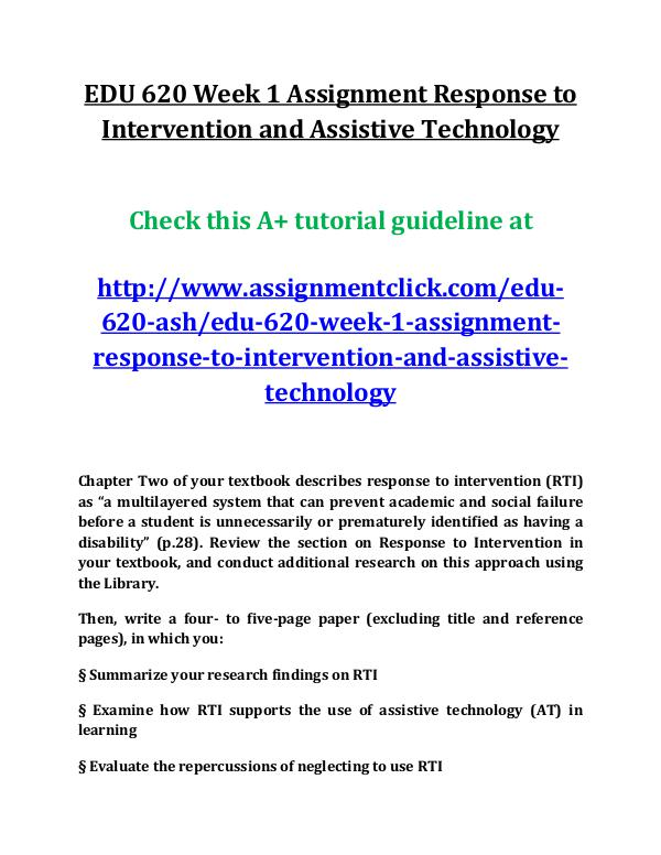 ASH EDU 620 entire course EDU 620 Week 1 Assignment Response to Intervention