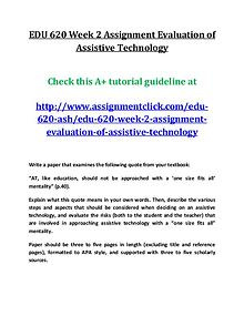 ASH EDU 620 entire course
