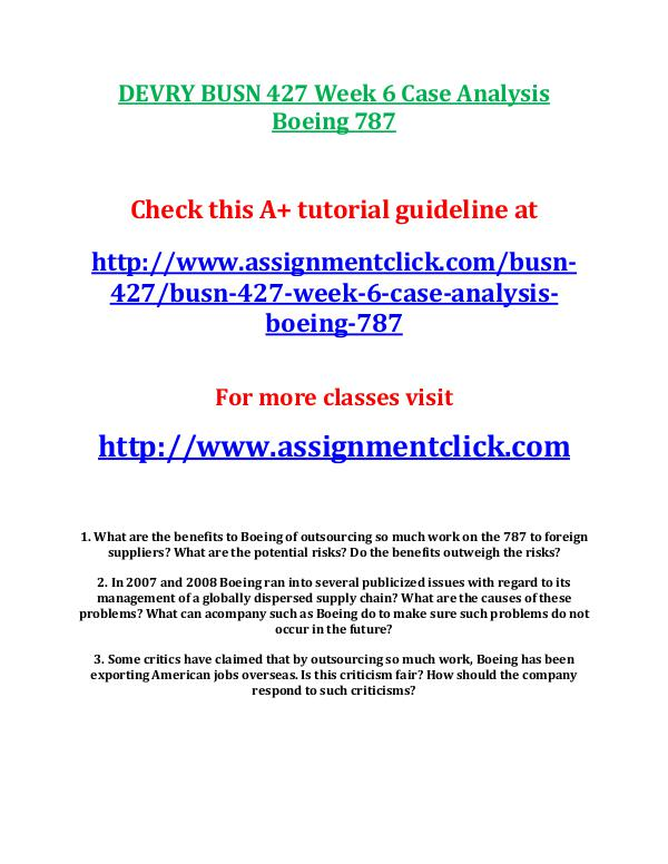 DEVRY BUSN 427 Week 6 Case Analysis Boeing 787