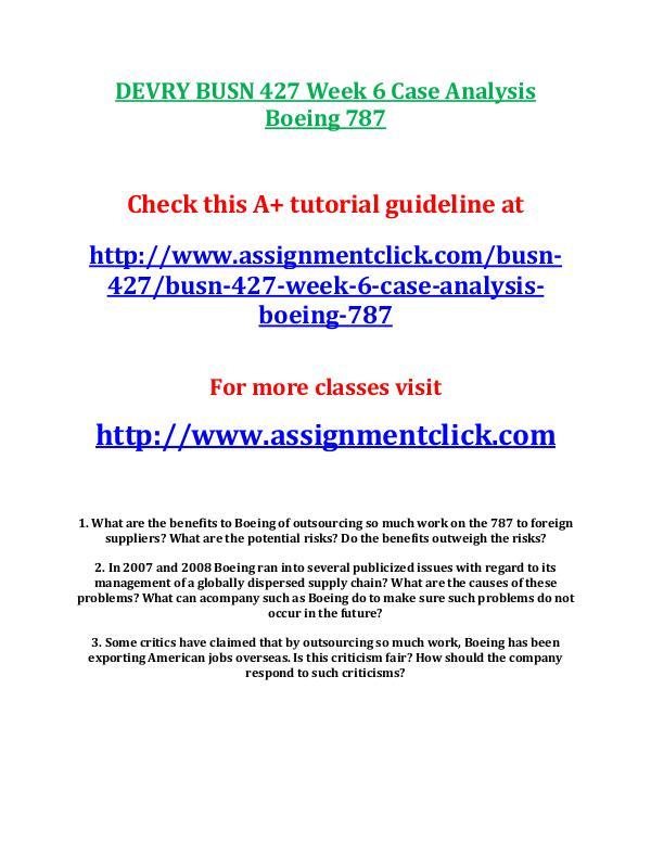 busn 427 entire course DEVRY BUSN 427 Week 6 Case Analysis Boeing 787