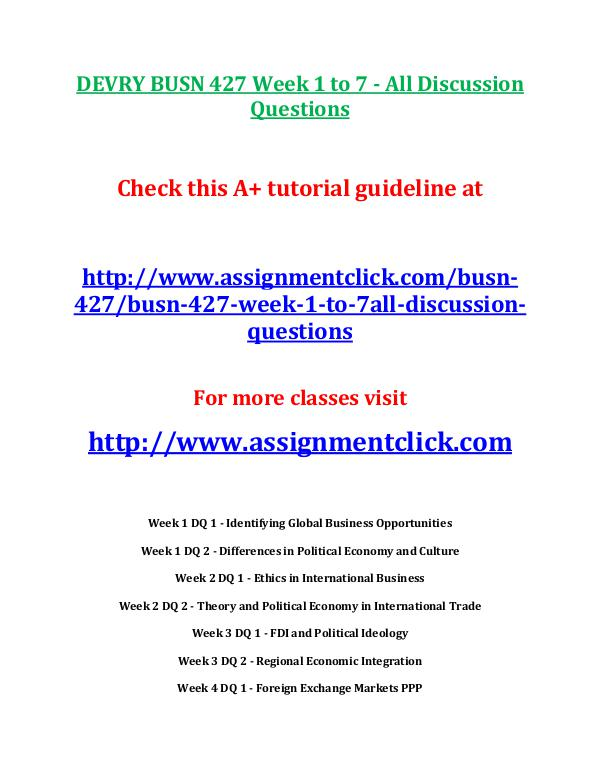 busn 427 entire course DEVRY BUSN 427 Week 1 to 7 - All Discussion Questi