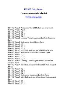 FIN 402 Expect Success/uophelp.com