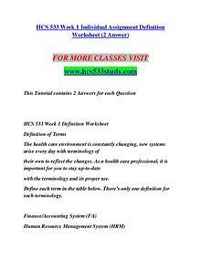 HCS 533 STUDY Redefine Possible/hcs533study.com