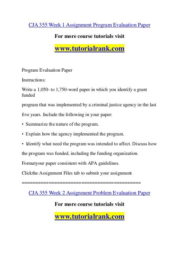 CJA 355 Course Great Wisdom / tutorialrank.com CJA 355 Course Great Wisdom / tutorialrank.com