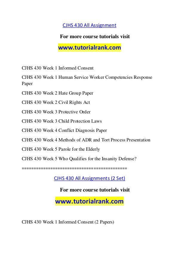 CJHS 430 Course Great Wisdom / tutorialrank.com CJHS 430 Course Great Wisdom / tutorialrank.com