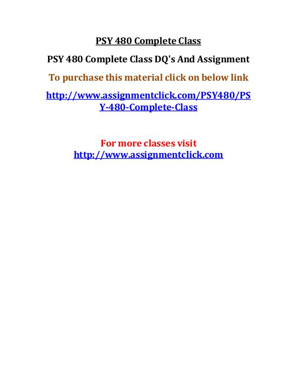 uop psy 480 entire course UOP PSY 480 Complete Class