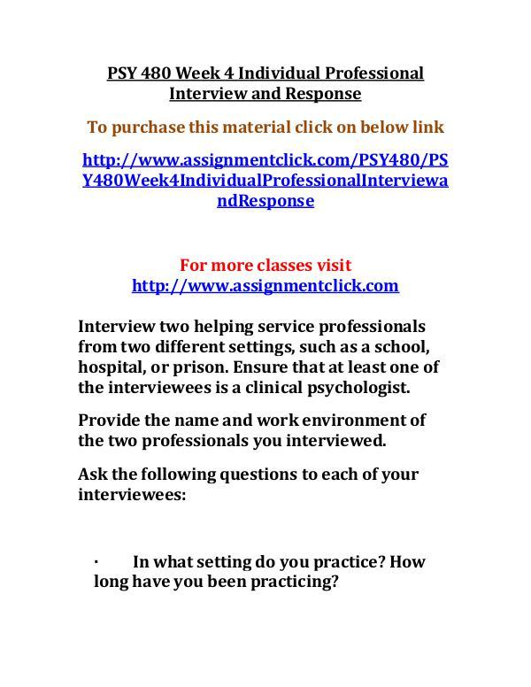 UOP PSY 480 Week 4 Individual Professional Intervi