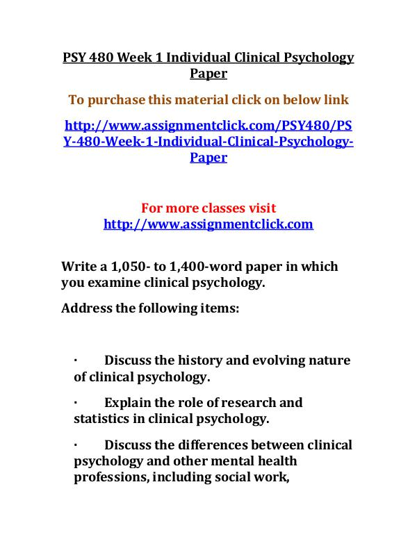 uop psy 480 entire course UOP PSY 480 Week 1 Individual Clinical Psychology