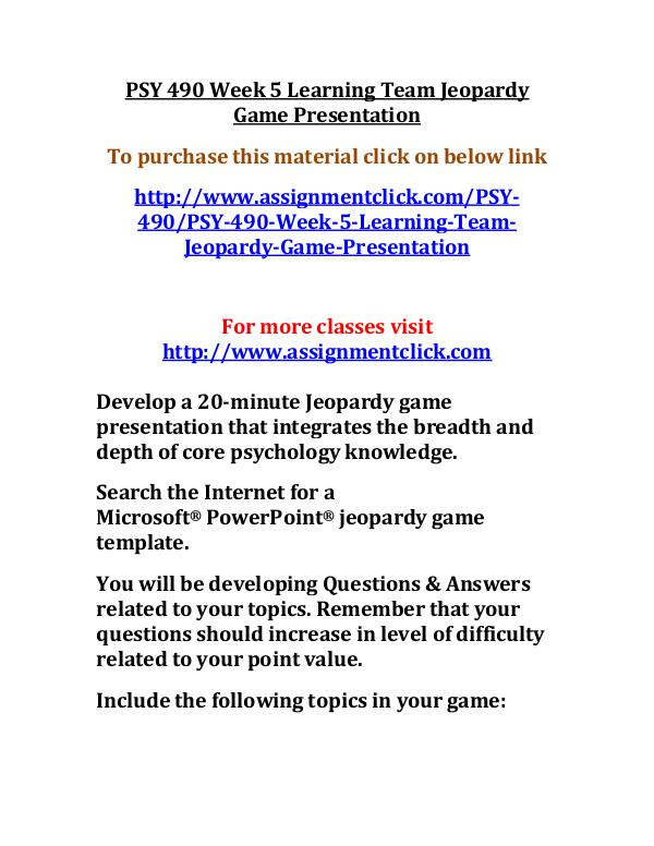 uop psy 490 entire course UOP PSY 490 Week 5 Learning Team Jeopardy Game Pre