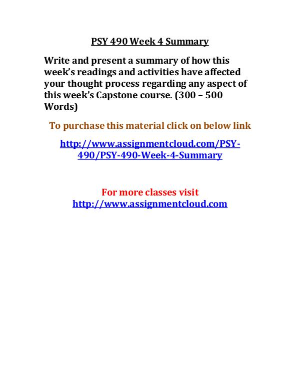 uop psy 490 entire course UOP PSY 490 Week 4 Summary