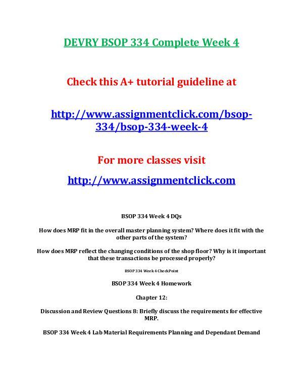 DEVRY BSOP 334 Entire CourseDEVRY BSOP 334 Entire Course DEVRY BSOP 334 Complete Week 4