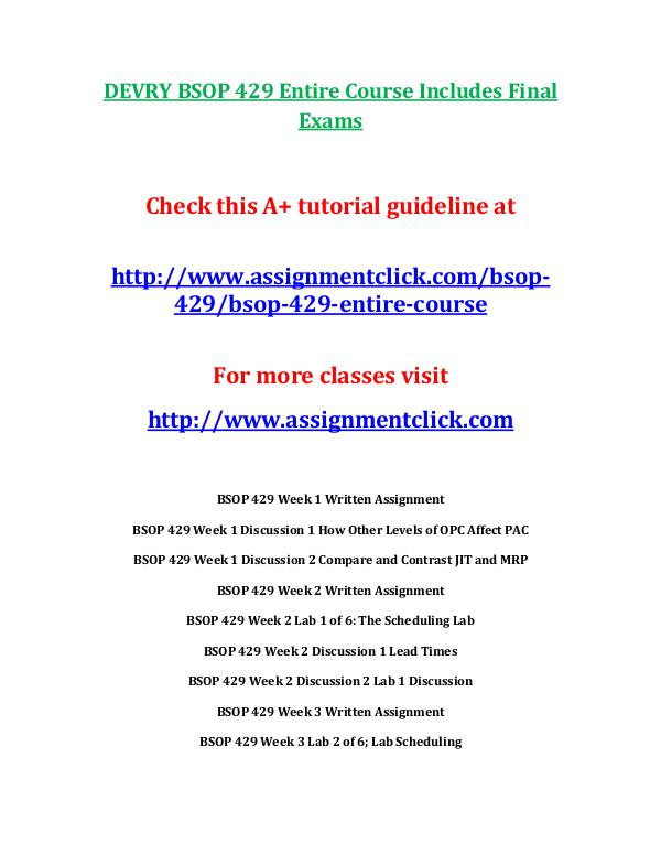 DEVRY BSOP 429 Entire Course Includes Final Exams