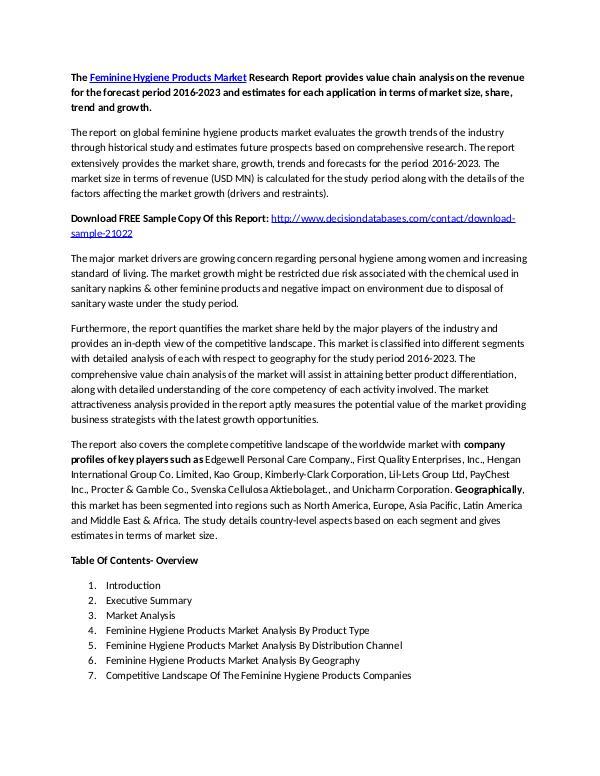 Global Feminine Hygiene Products Market Report 2016-2023