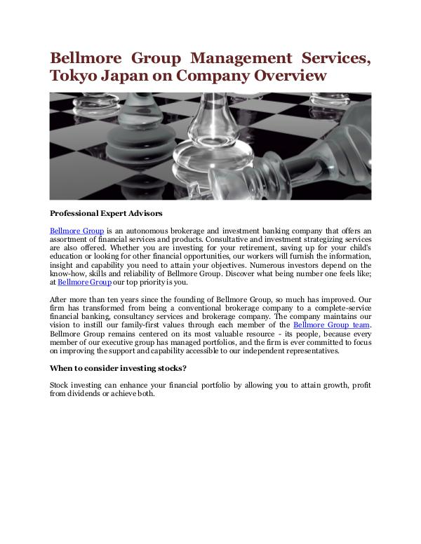 Bellmore Group Management Services, Tokyo Japan Company Overview