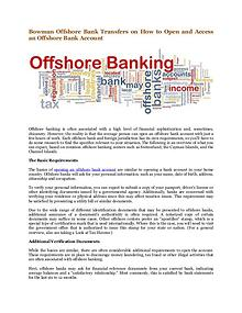 Bowman Offshore Bank Transfers