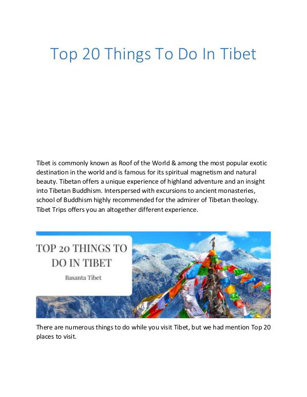 Top 20 Things To Do In Tibet Top 20 Things To Do In Tibet