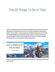 Top 20 Things To Do In Tibet