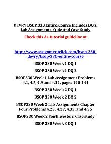 DEVRY BSOP 330 Entire Course