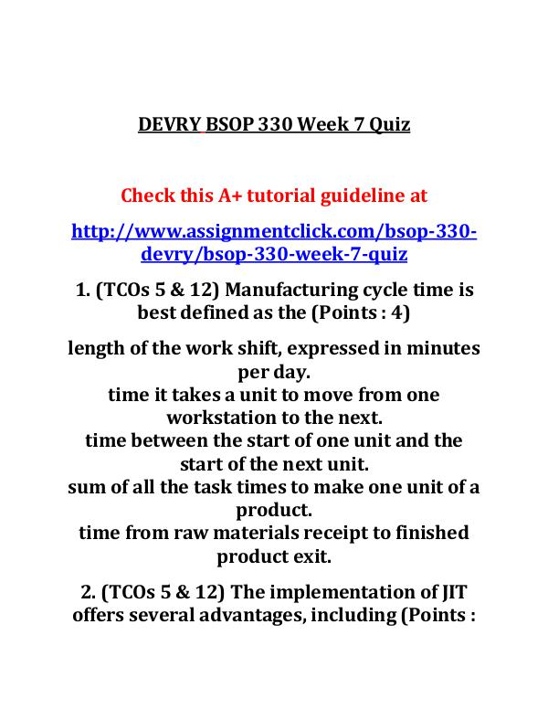DEVRY BSOP 330 Entire Course DEVRY BSOP 330 Week 7 Quiz