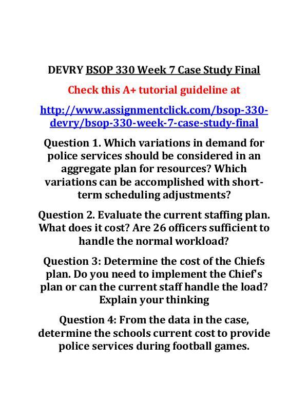 DEVRY BSOP 330 Week 7 Case Study Final