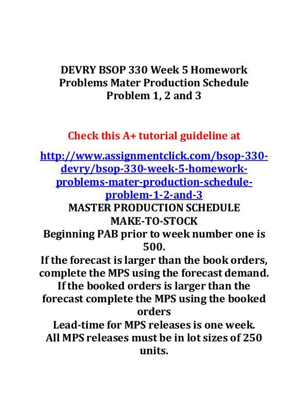 DEVRY BSOP 330 Entire Course DEVRY BSOP 330 Week 5 Homework Problems Mater Prod