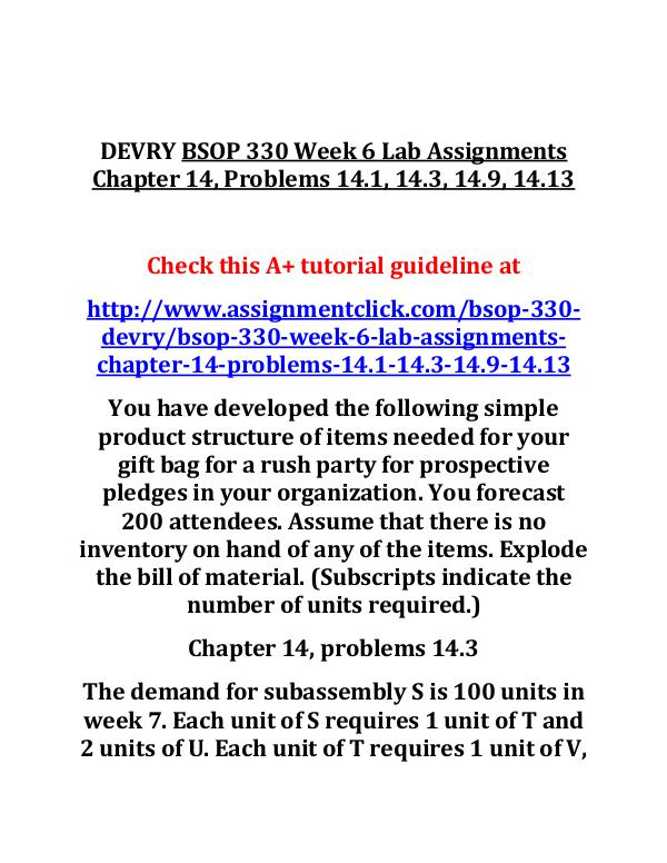DEVRY BSOP 330 Entire Course DEVRY BSOP 330 Week 6 Lab Assignments Chapter 14