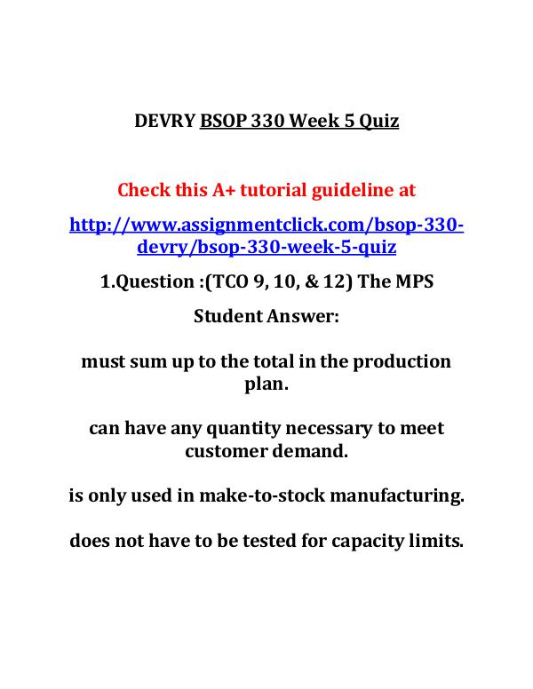 DEVRY BSOP 330 Entire Course DEVRY BSOP 330 Week 5 Quiz