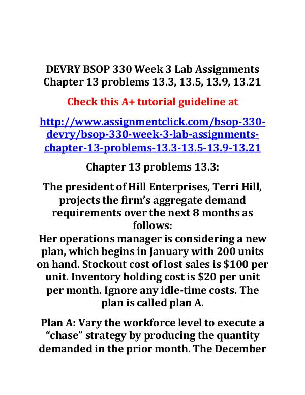 DEVRY BSOP 330 Entire Course DEVRY BSOP 330 Week 3 Lab Assignments Chapter 13 p